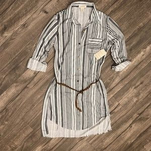 Passport  Shirt Dress With Braided Belt
